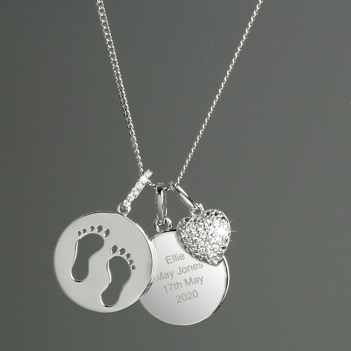 Personalised Sterling Silver Baby's Footprints and Cubic Zirconia Heart Necklace