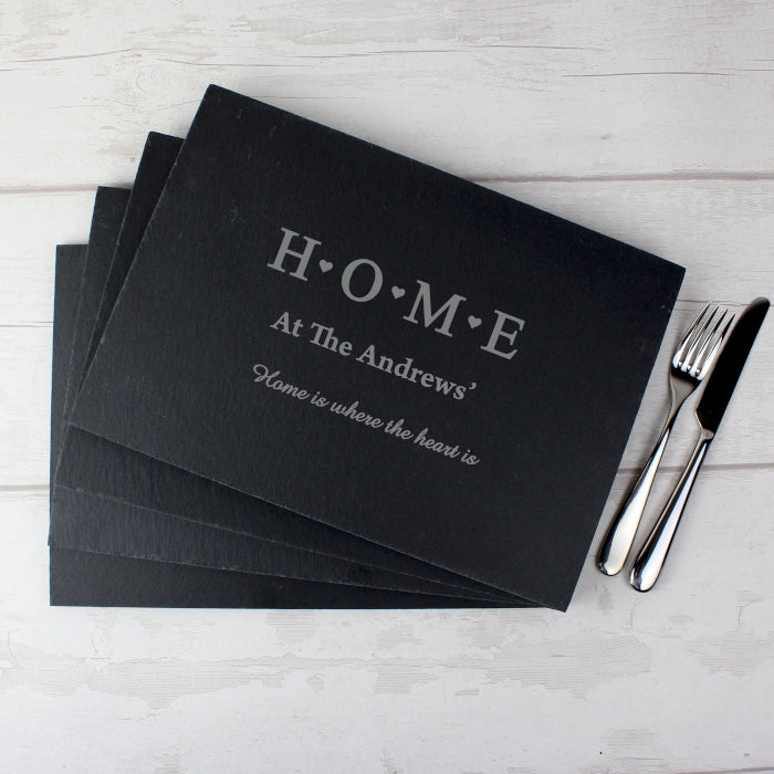 Personalised HOME Slate Rectangle Set Of 4 Placemats
