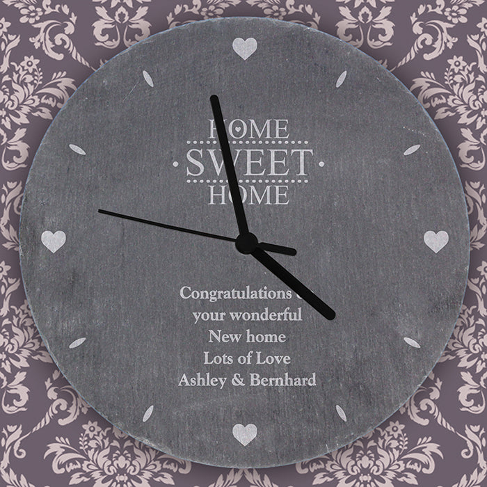Home Sweet Home Personalised Slate Wall Clock