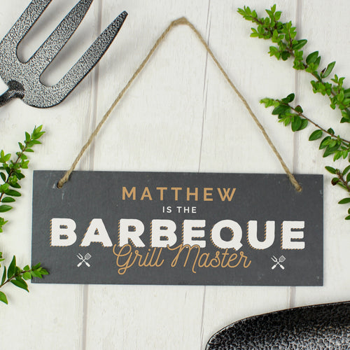 Personalised Barbeque Grill Master Hanging Slate Sign