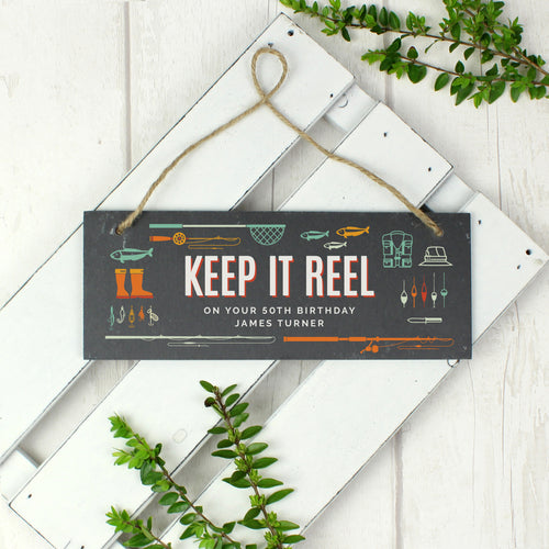 Personalised Keep It Reel Fishing Themed Hanging Slate Sign