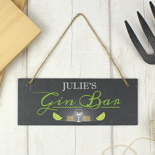 Personalised 'Gin Bar' Hanging Slate Sign