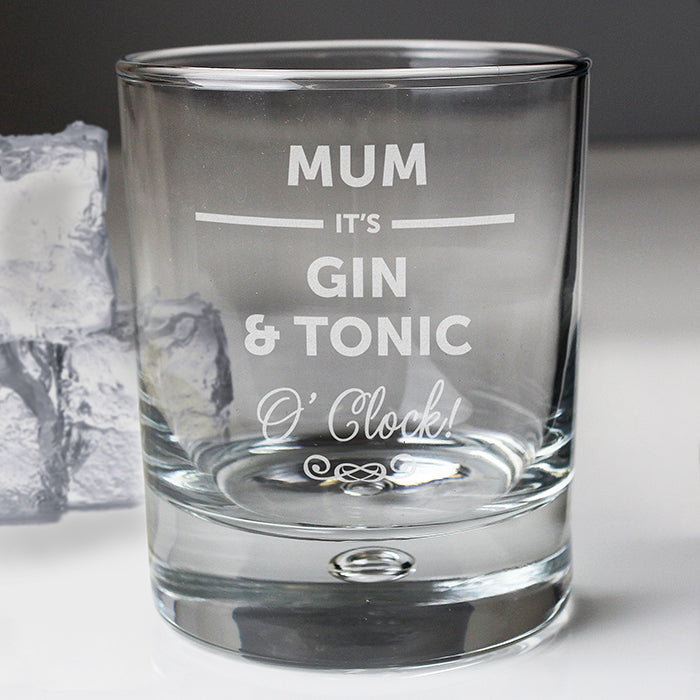 Personalised Gin & Tonic O'Clock Glass Tumbler