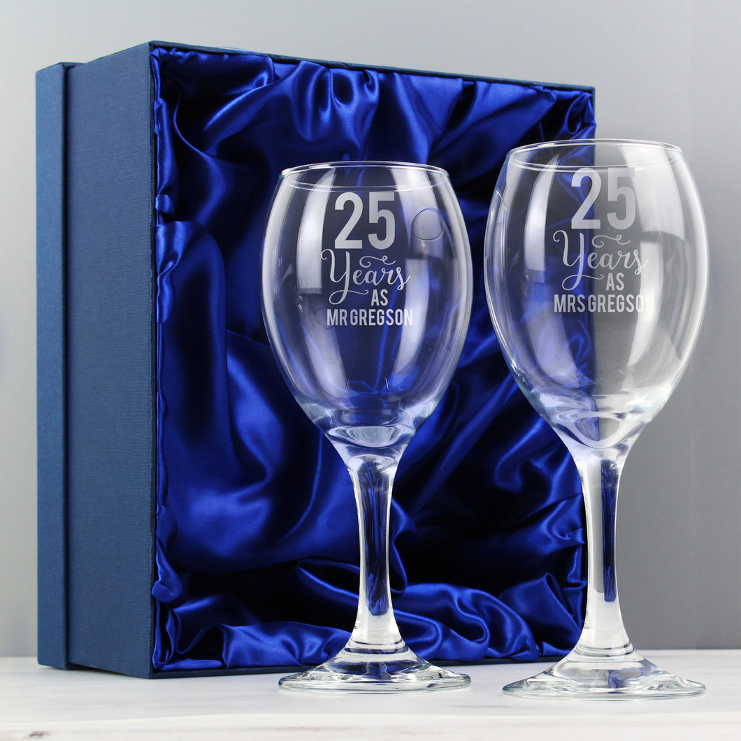 Personalised Years As..... Anniversary Wine Glass Set