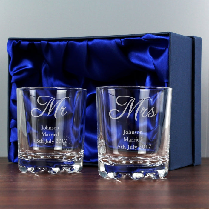 Personalised Mr & Mrs Glass Tumbler Set