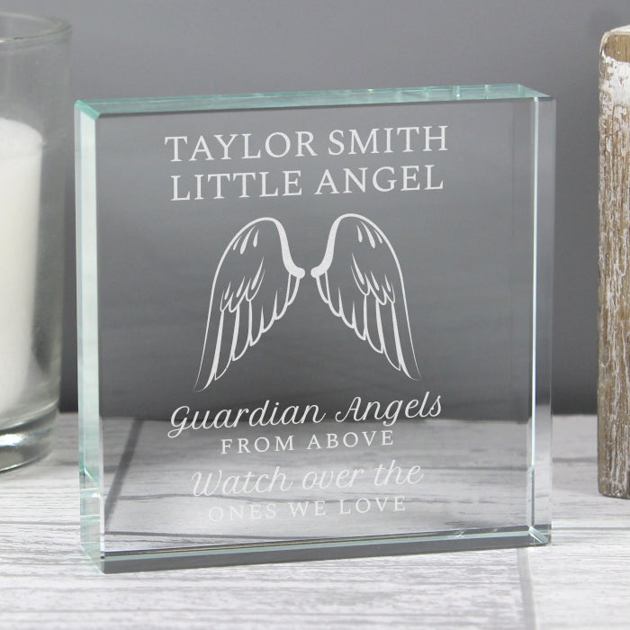 Personalised Guardian Angel Wings Memorial Crystal Keepsake Token