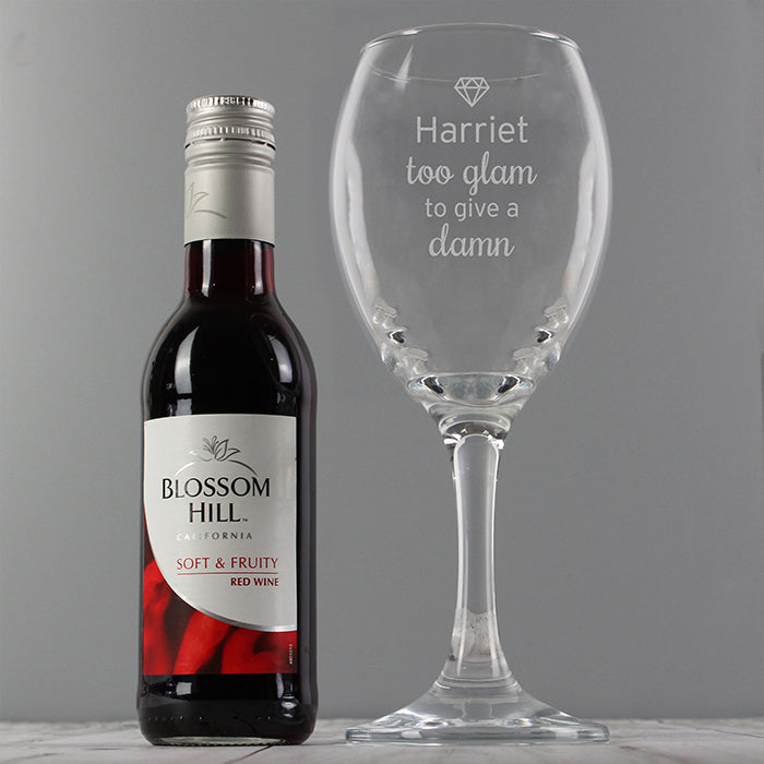 Too Glam To Give A Damn Personalised Wine Glass & Red Wine Gift Set
