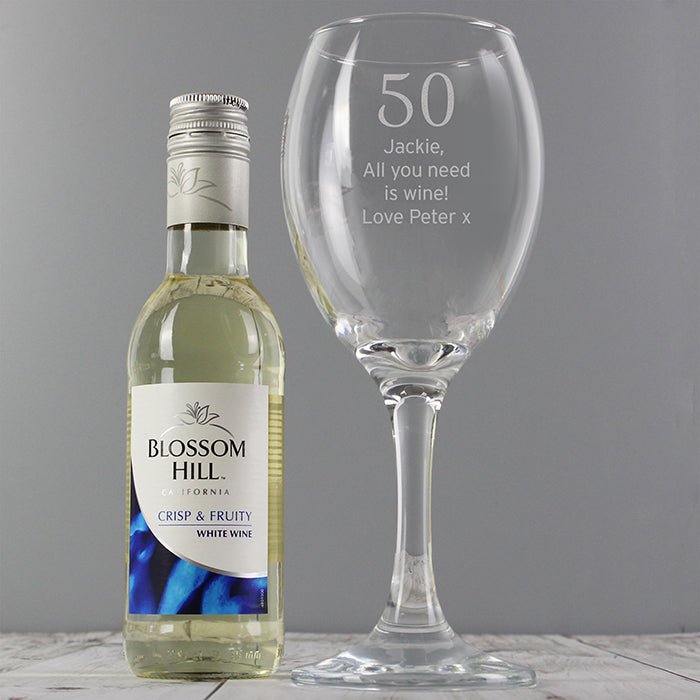 Personalised Any Age Birthday Wine Glass & Miniature White Wine Gift Set