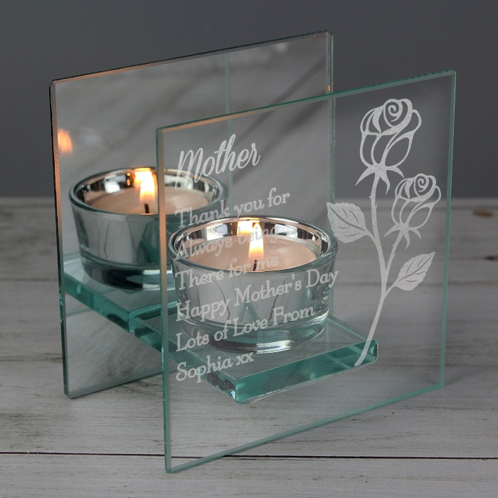 Personalised Rose Design Mirrored Glass Tea Light Holder