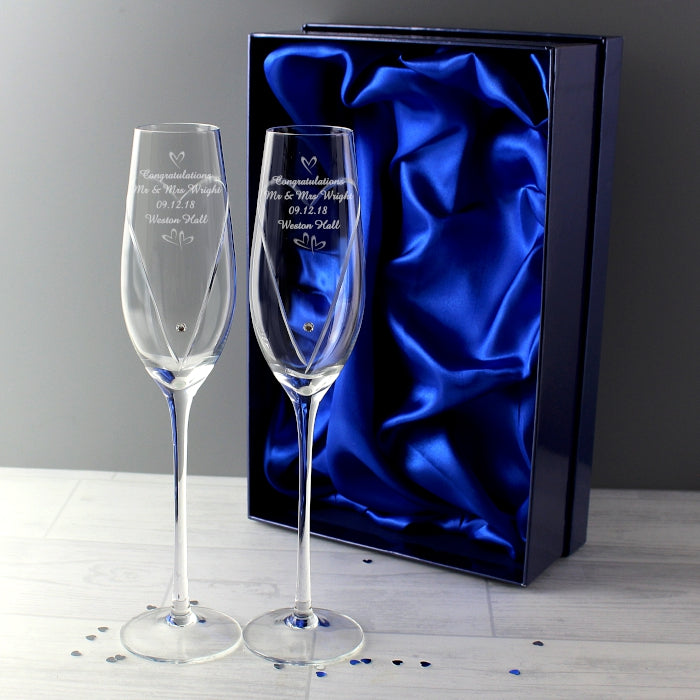 Personalised Hand Cut Pair of Flutes with Swarovski Elements In Gift Box