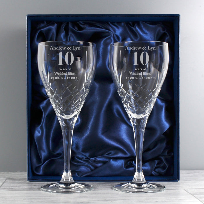 Personalised Crystal Any Wedding Anniversary Wine Glass Set