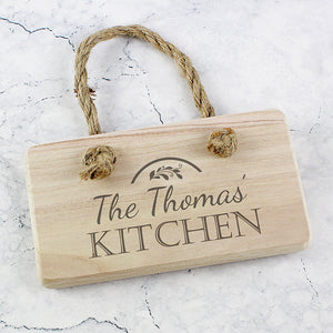 Personalised Rustic Kitchen Hanging Wooden Sign