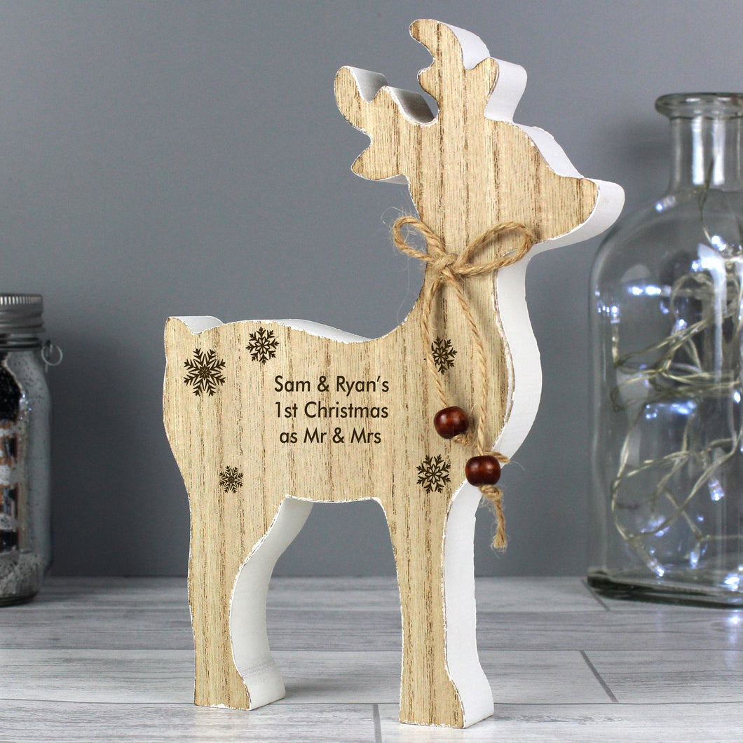 Personalised Wooden Rustic Reindeer Decoration