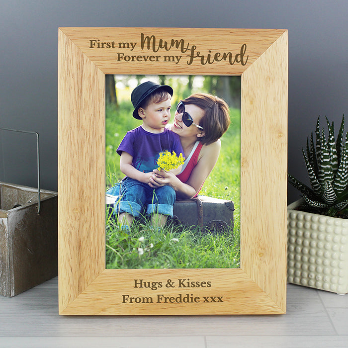First My Mum Forever My Friend Personalised Wooden Photo Frame