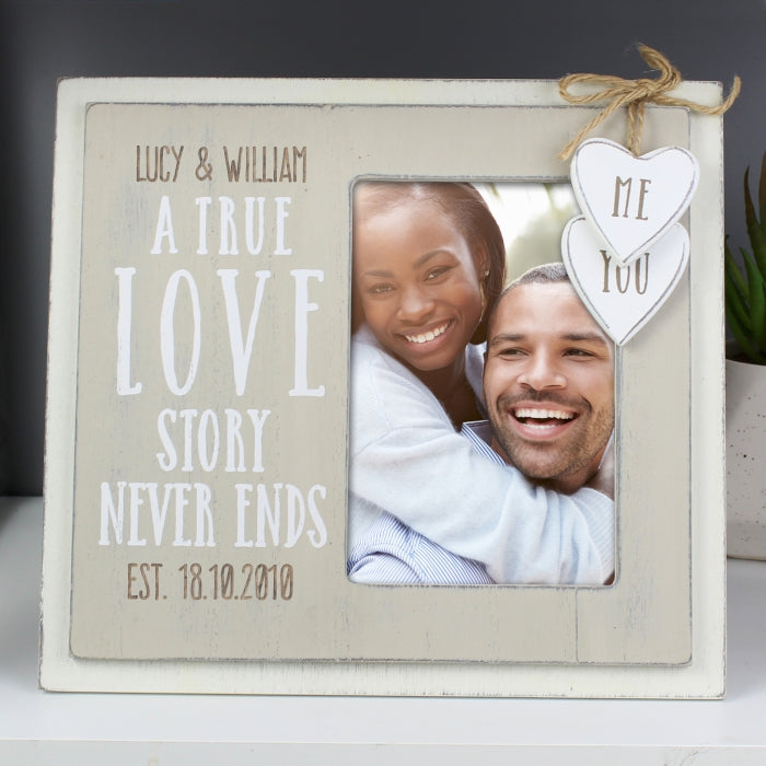 Personalised A True Love Story Never Ends Wooden Photo Frame