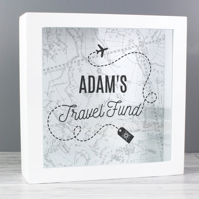 Personalised Travel Fund Wooden Money Box