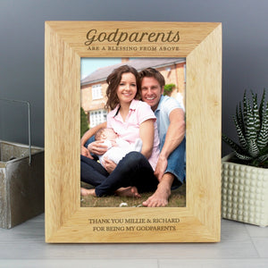 Personalised Godparents Are A Blessing Wooden Photo Frame