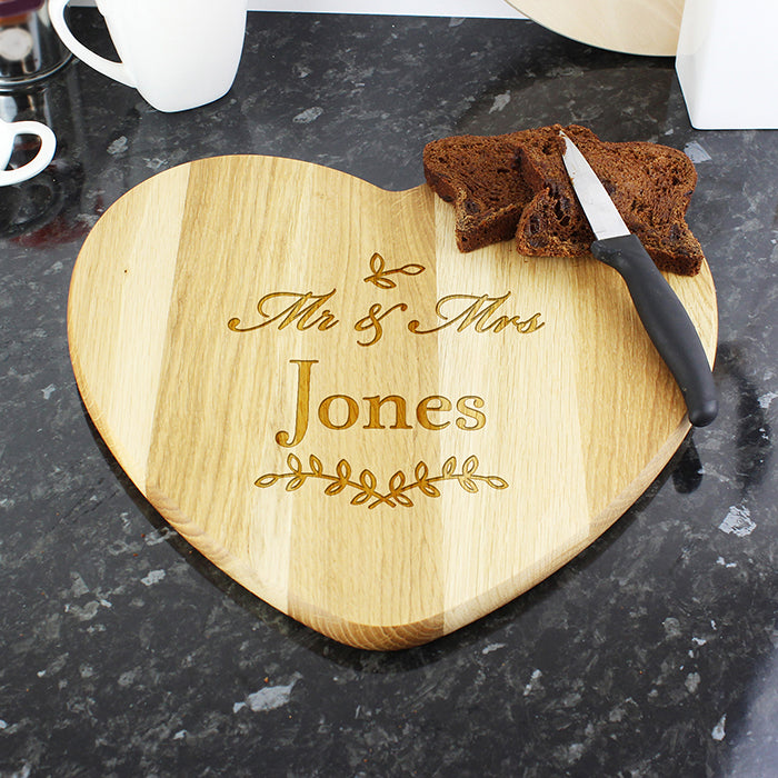 Personalised Mr & Mrs Heart Shaped Wooden Chopping Board