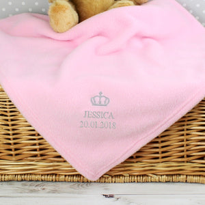 Personalised Silver Crown Pink Baby Blanket