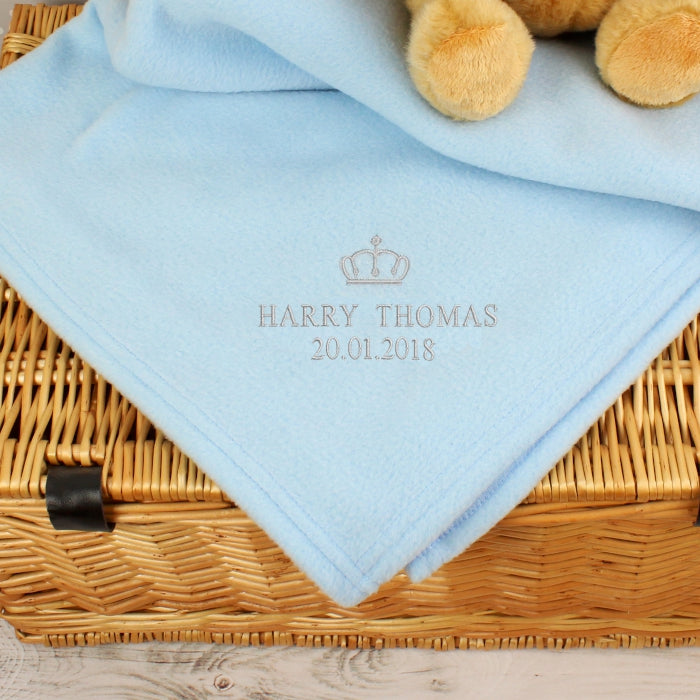 Personalised Silver Crown Blue Baby Blanket