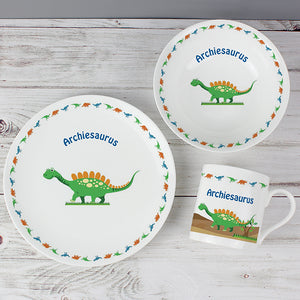 Personalised Dinosaur Ceramic Breakfast Set
