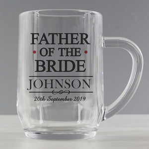 Personalised Father Of The Bride Glass Tankard