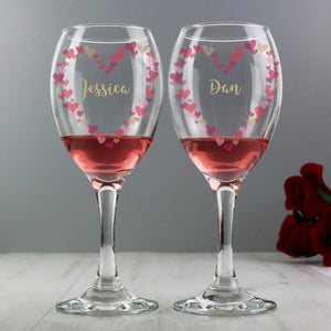 Personalised Confetti Hearts Design Pair of Wine Glasses