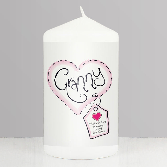Personalised Granny Heart Stitch Candle