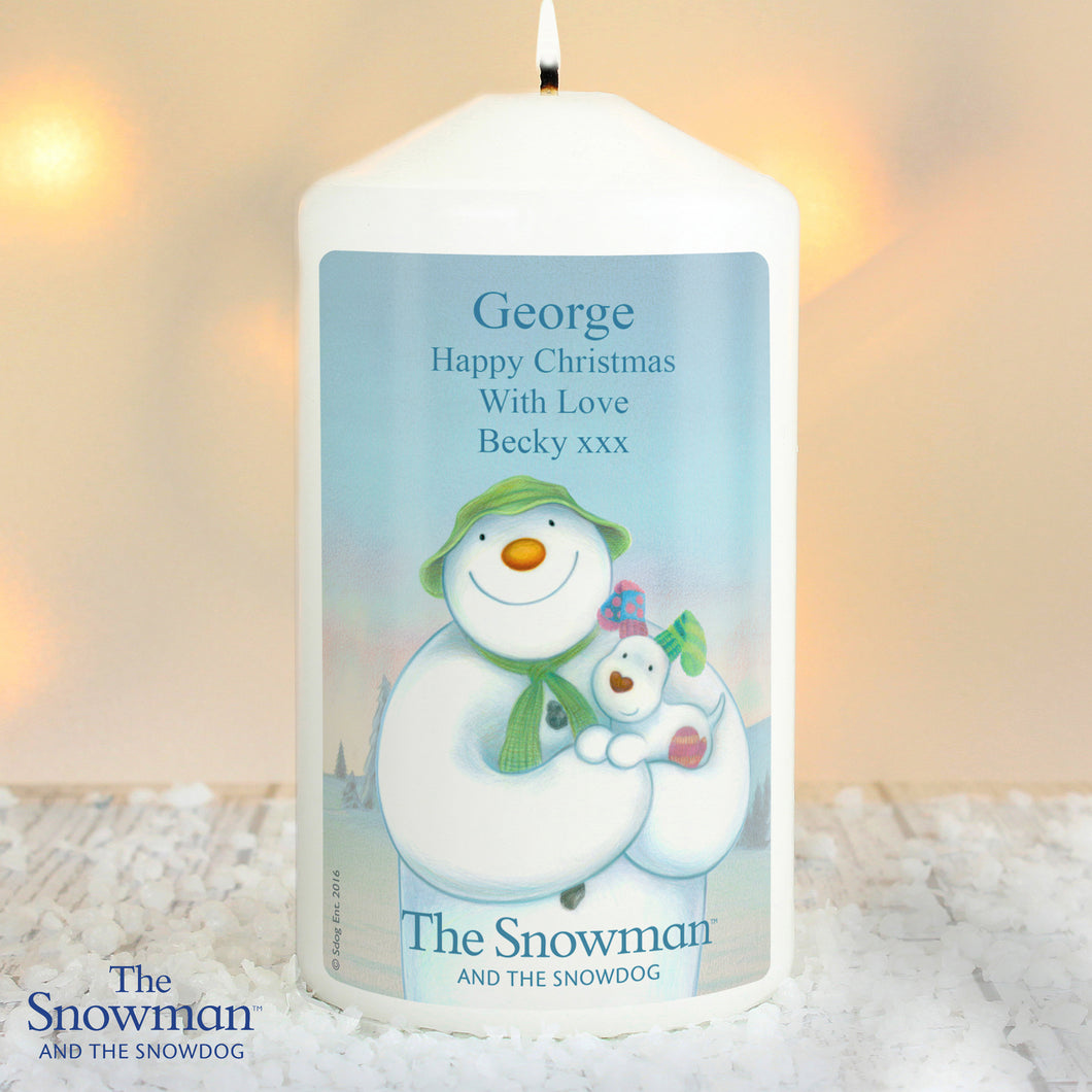 Personalised The Snowman and the Snowdog Candle