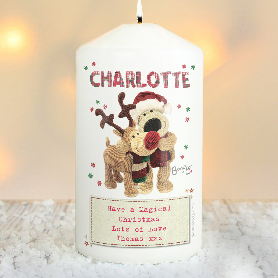Personalised Boofle Christmas Reindeer Candle