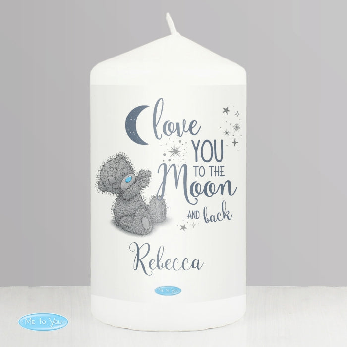 Personalised Love You To The Moon & Back Pillar Candle