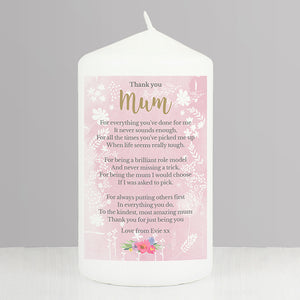 Thank You Mum Personalised Pillar Candle