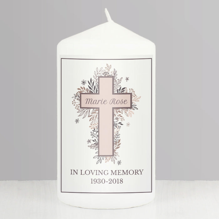 Personalised In Loving Memory Pink Cross Pillar Candle