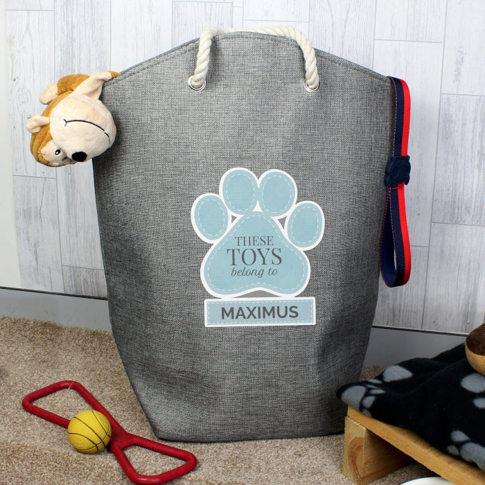 Personalised Blue Paw Print Pet Toy Storage Bag