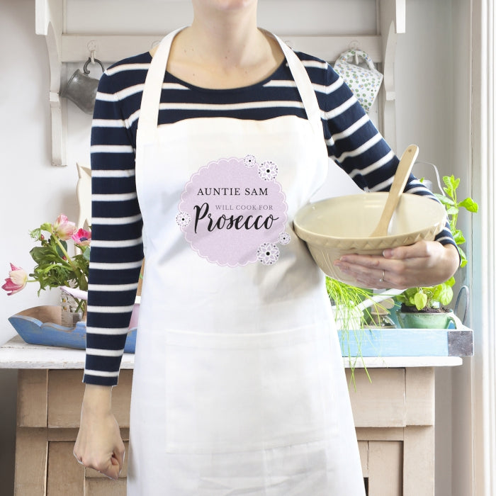 Will Cook For Prosecco Personalised Lilac & White Apron
