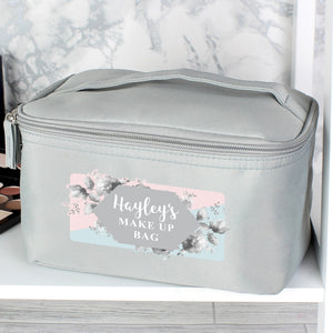 Personalised Floral Grey Make Up Bag