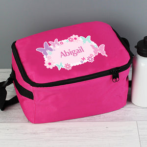 Personalised Butterfly Design Insulated Pink Lunch Bag