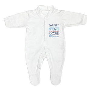 Personalised Twinkle Blue Text Babygrow 3-6 months