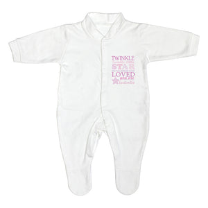 Personalised Twinkle Pink Text Babygrow 3-6 months