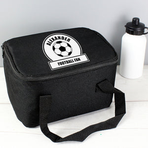 Personalised Football Fan Black & White Insulated Lunch Bag