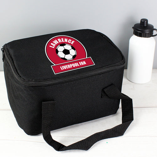 Personalised Football Fan Red & White Insulated Lunch Bag