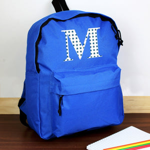 Personalised Star Initial Design Blue Child's Backpack