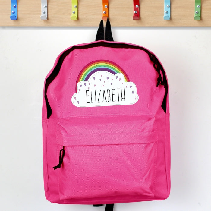 Personalised Rainbow & Hearts Design Pink Backpack