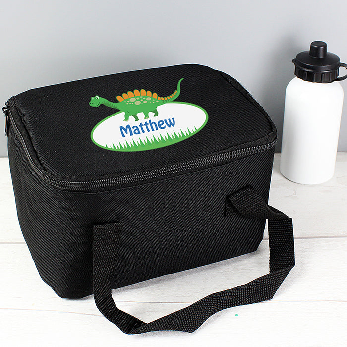 Personalised Dinosaur Design Black Insulated Lunch Bag
