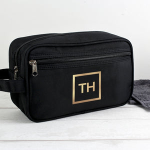 Personalised Classic Black Wash Bag With Gold Initials