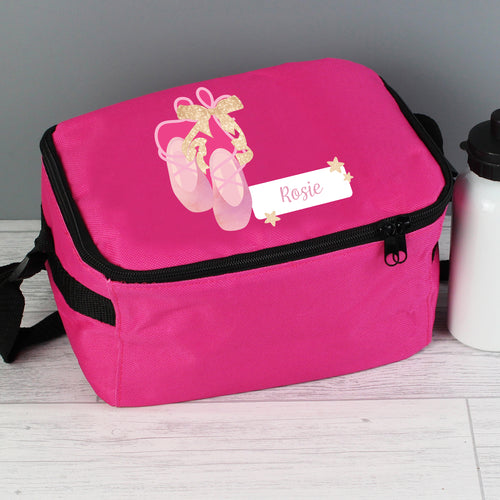 Personalised Ballet Shoes Design Insulated Pink Lunch Bag