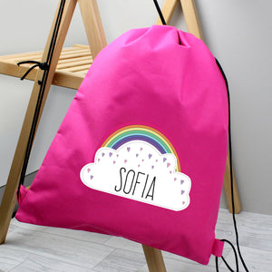 Personalised Unicorn & Hearts Waterproof Swimming / PE Kit Bag