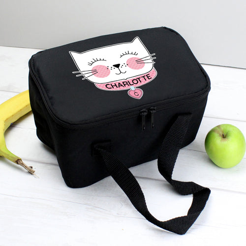 Personalised Cat Design Black Insulated Lunch Bag