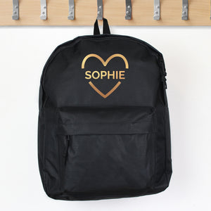 Personalised Gold Heart Design Child's Backpack