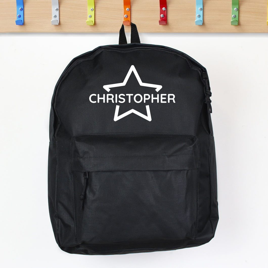 Personalised Black Star Design Child's Backpack